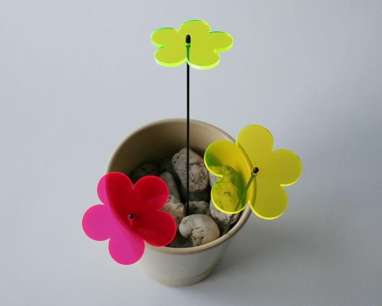 Fluo Blume midi, 6 cm auf 25 cm Stab Ø2mm grün – Bild 3