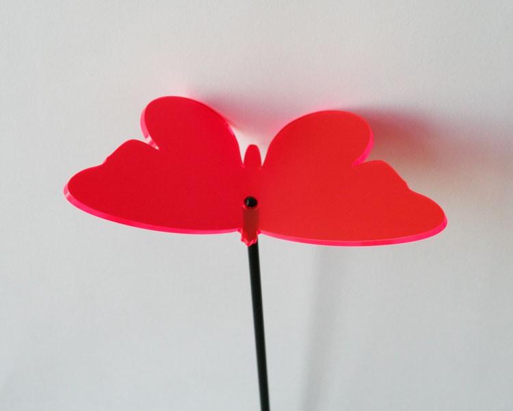 Fluo Schmetterling, rot, 16 cm ohne Stab Ø5mm – Bild 1