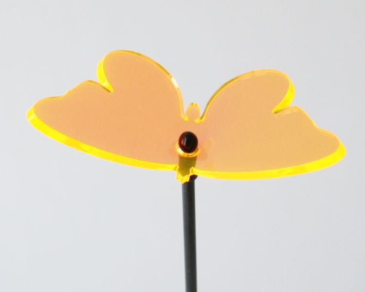 Fluo Schmetterling,10 cm auf 30 cm Stab Ø 2mm gold-gelb – Bild 2