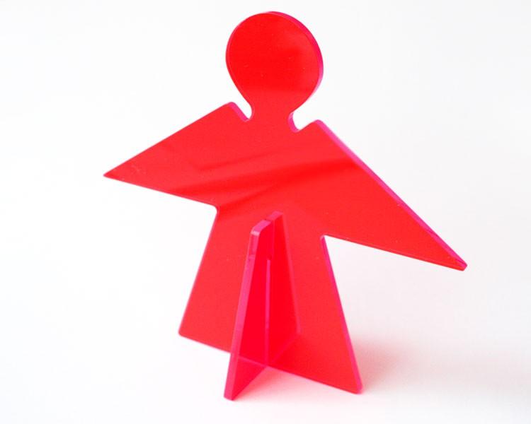 Fluo Schutzengel klein 12 cm stehend rot, 2 Teile – Bild 1