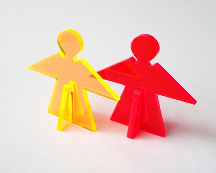 Fluo Schutzengel mini 5 cm stehend rot, 2 Teile – Bild 1
