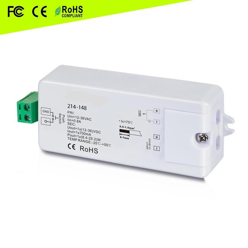 Dimmer Empfänger 700mA, 12-24V, 1-Kanal, max. 16,8 Watt (24V)