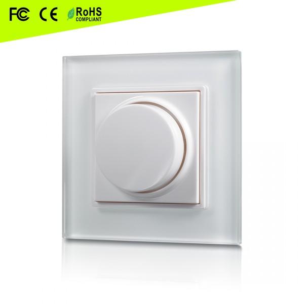 Pro Serie Glas Drehschalter funkgesteuert für LED Dimmer | Kabellos | 1 Zone