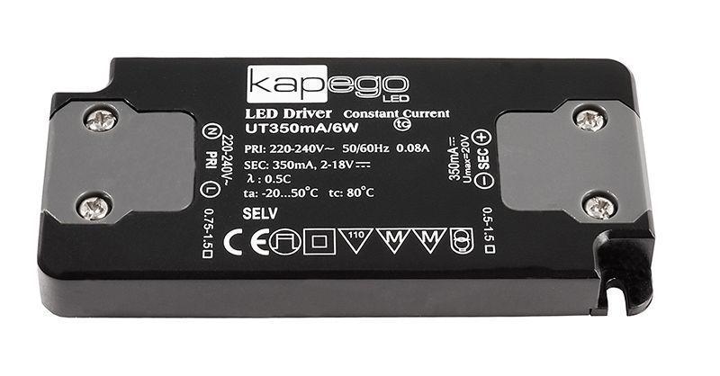 FLAT, UT350mA/6W 350 mA 2-18V DC Schwarz 230V AC 6 W - Netzgerät