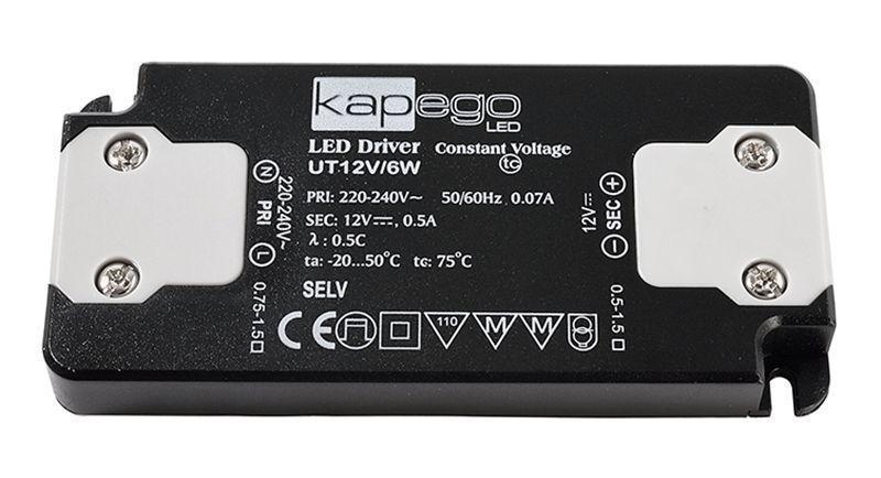 FLAT, UT12V/6W 0-500 mA 12V DC Schwarz 230V AC 6 W - Netzgerät