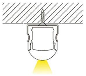 2m U-Profil | Alu | 17x20mm | weiß matte Abdeckung halbrund – Bild 4