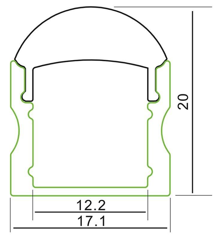 1m U-Profil | Alu | 17x20mm | klare Abdeckung halbrund – Bild 1