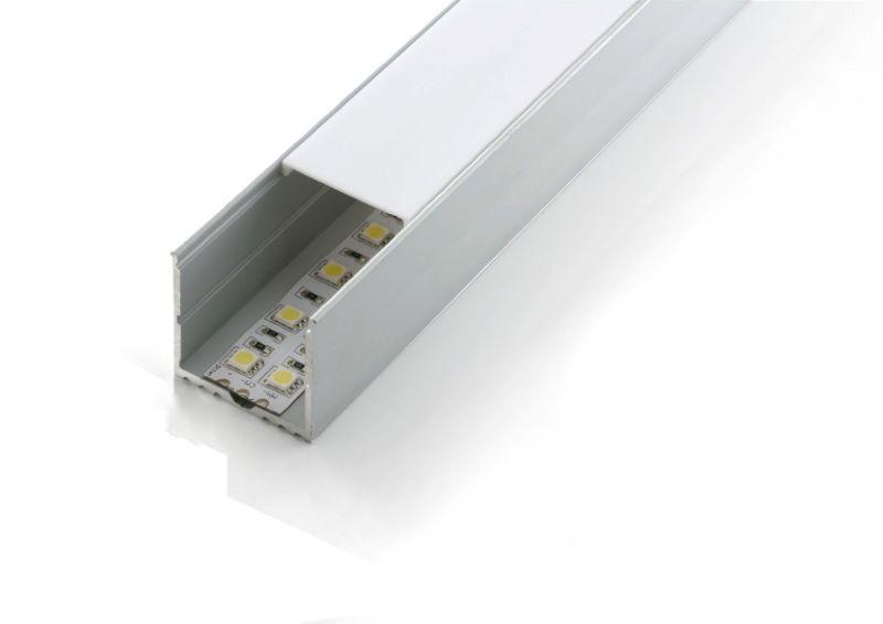 2m U-Profil | Alu | 35x35mm | weiß matte Abdeckung  – Bild 1