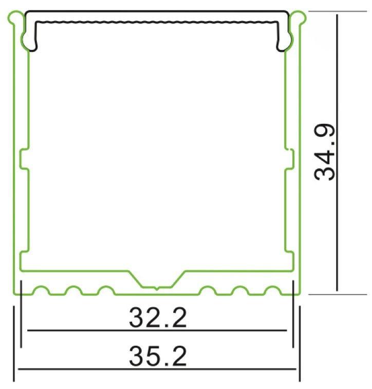 2m U-Profil | Alu | 35x35mm | weiß matte Abdeckung  – Bild 2