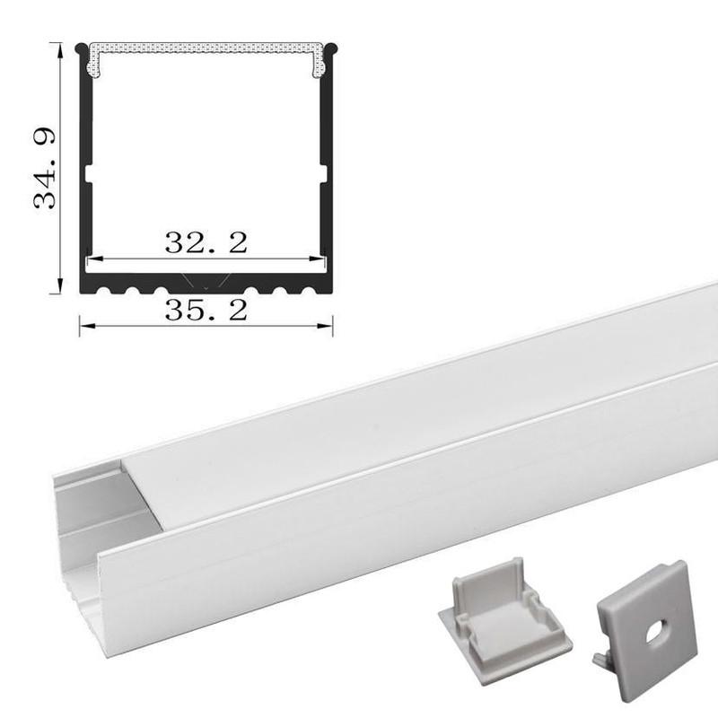 2m U-Profil | Alu weiß | 35x35mm | weiß matte Abdeckung  – Bild 3