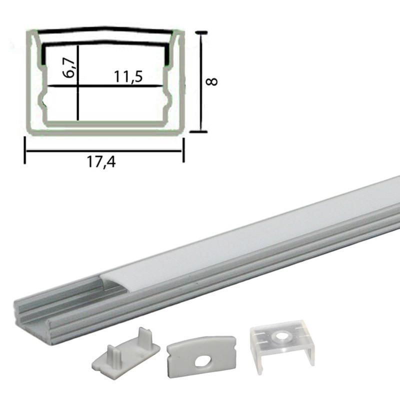 ca.1m U-Profil flach | Alu | 17x8mm | weiß matte Abdeckung – Bild 4
