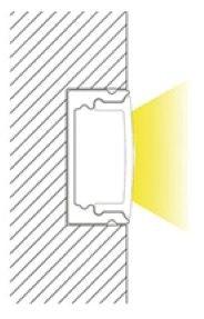 ca.1m U-Profil flach | Alu | 17x8mm | weiß matte Abdeckung – Bild 5