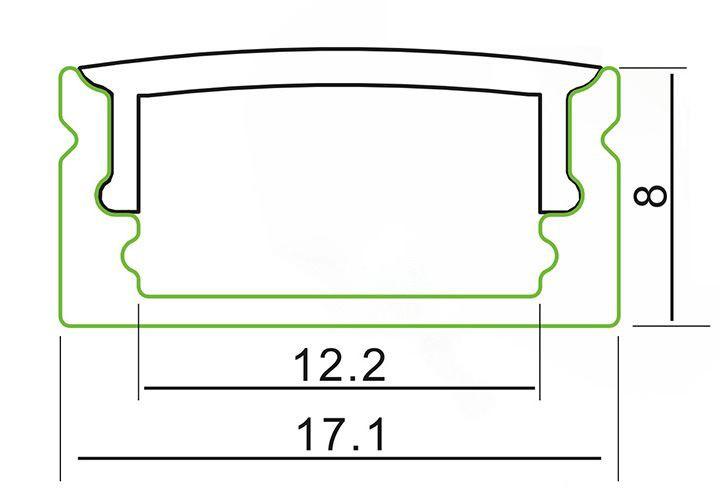 ca.1m U-Profil flach | Alu | 17x8mm | weiß matte Abdeckung – Bild 1