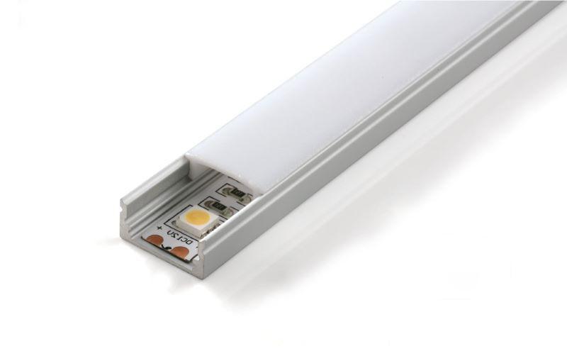 1m U-Profil flach | Alu | 17x8mm | weiß matte Abdeckung – Bild 2