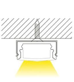 1m U-Profil flach | Alu | 17x8mm | weiß matte Abdeckung – Bild 3