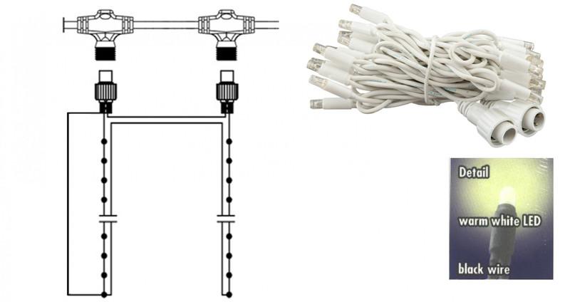Lichterkette weiß 4x0,8 m, je 8 LEDs warmweiß – Bild 1