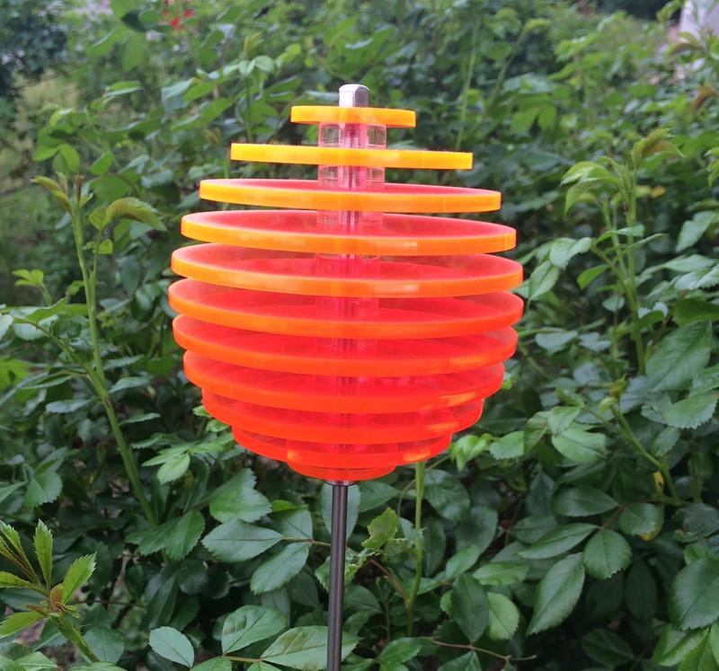 orange Kugel LOLLY Ø8,5 cm, 1 m Stahlstab/Schraube, 11 Scheiben