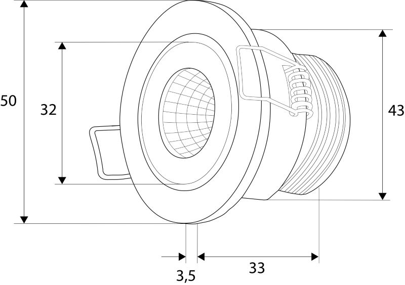 LED Einbaustrahler COB Downlight 3,3W | 3000K | 350mA | 300lm | Montagebügel – Bild 2