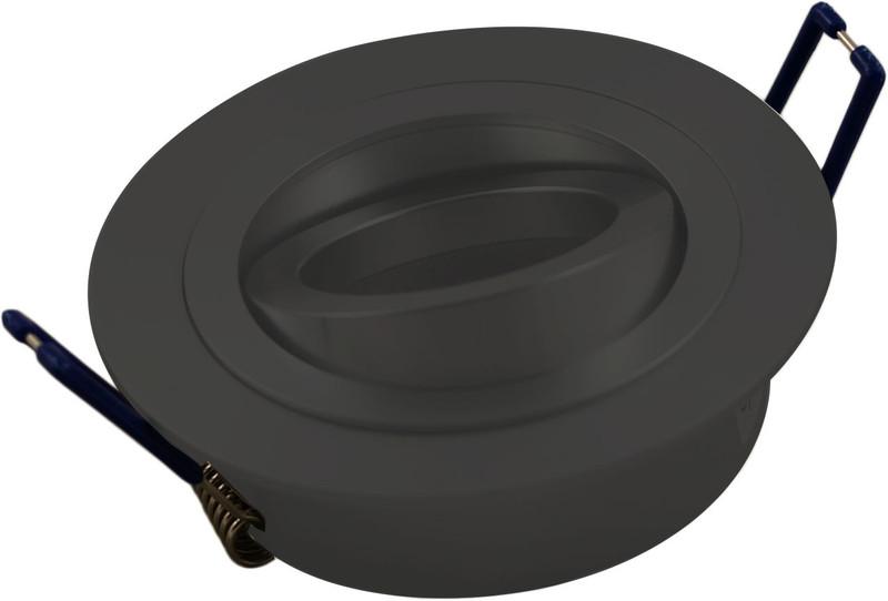 Einbaurahmen Eco 1-fach | Rund Ø 92mm  Schwarz  | 30° schwenkbar | mit  Bügeln