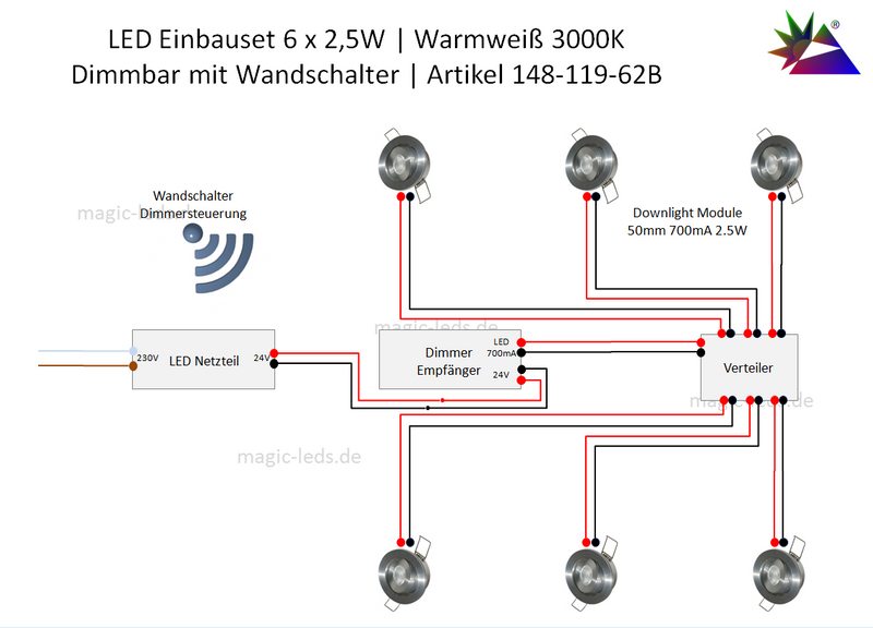 LED Einbaustrahler Set Dimmer Schalter | 6 x 2,5W | Warmweiß – Bild 2