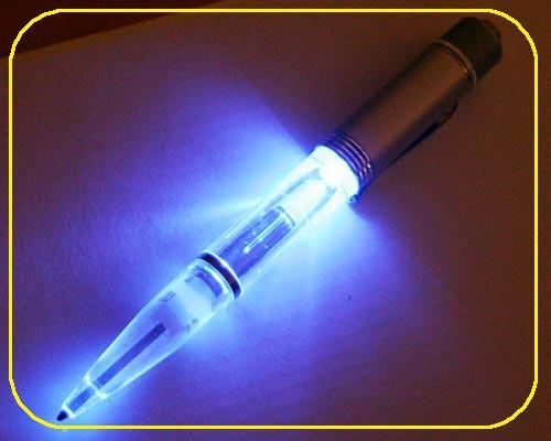 silberner Neon Kugelschreiber LED blau – Bild 3