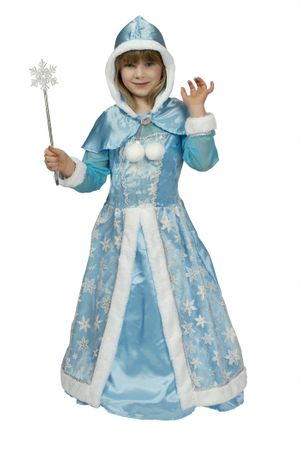 Schneeköniginkostüm in weiß blau | Mädchen Königinkostüm für Kinder | Kleid, Cape, Stab