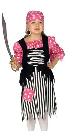 Piratenkleid in rosa-schwarz-weiß für Mädchen