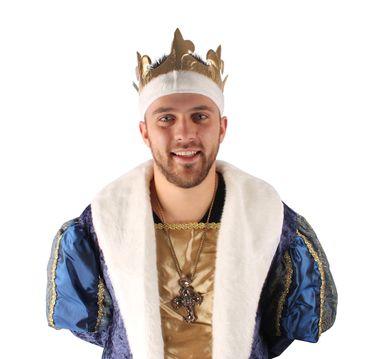 Faschingskostüm King Henry, Mantel kurz mit Krone – Bild 4