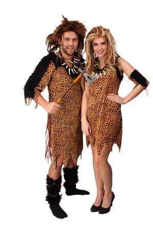 Damen | Faschingskostüm Neandertalerin Partnerkostüm | Kleid mit einer Armstulpe – Bild 1