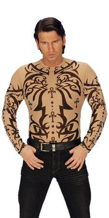 Tattoo-Stretchshirt mit Tribalmuster, unisex