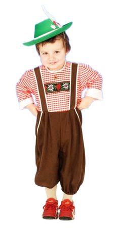 Tirol-Overall in braun-rot-weiß für Kinder für den Fasching