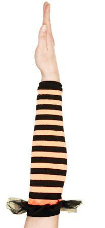 Armstulpen mit Spitze in orange-schwarz – Bild 1