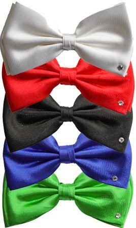 Diplomaten-Schleife- Fliege in weiß, grün, rot oder schwarz mit Kristallstein