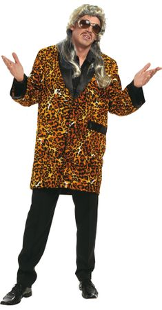 Leopardenmantel für Machokostüm / Zuhälter-Kurz-Mantel