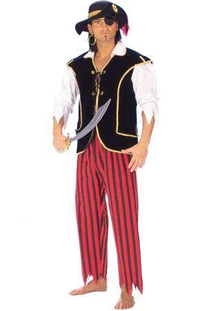 Piratenkostüm in schwarz-rot-weiß für Herren für den Fasching
