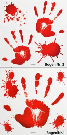 Blutige-Hände-Tattoo | Halloween-Tattoo & Horror-Aufkleber / Schminke – Bild 1