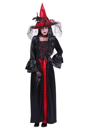 Hexen-Kleid rot-schwarz / Hexen-Kostüm  – Bild 1