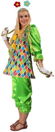Clownskostüm in grün mit buntem Oberteil für Damen – Bild 2