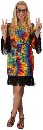 Hippiekleid in bunt mit Gürtel für Damen für den Karneval – Bild 2