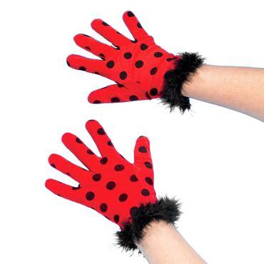 Marienkäferhandschuh in rot mit schwarzen Punkten