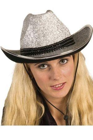 Cowboyhut in silber oder gold mit Kinnriemen für Erwachsene für den Karneval – Bild 2