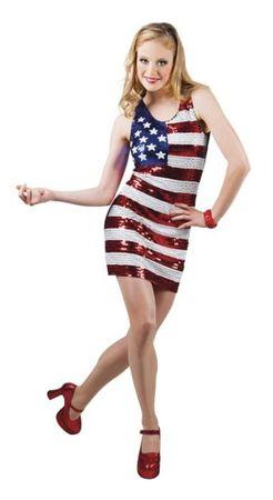 Paillettenkleid im Amerikalook für Damen für den Karneval