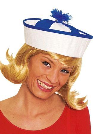 Matrosenmütze in weiß-blau mit Bommel für Damen für den Fasching