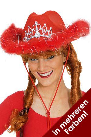 Cowboy-Hut in verschiedenen Farben mit Blinkdiadem für den Fasching – Bild 1