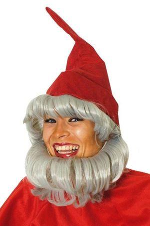 Zwergen-Mütze rot mit Bart für den Fasching
