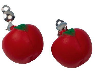 Ohrringe Apfel in rot aus Kunststoff für den Karneval