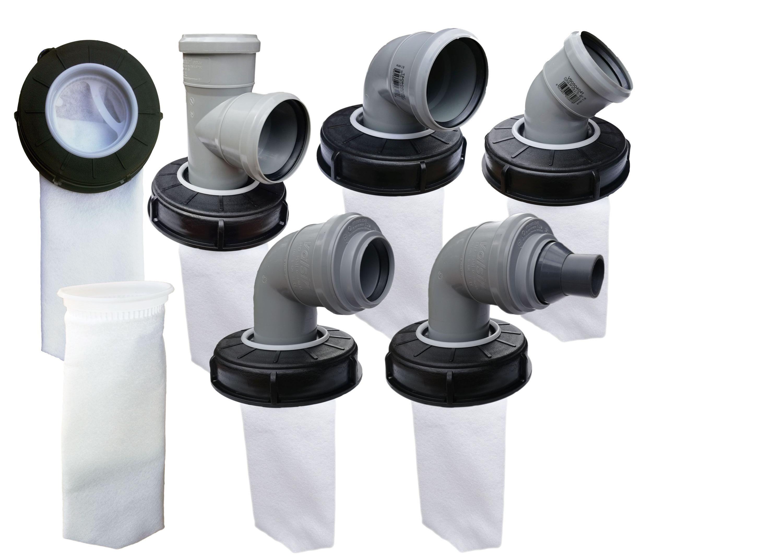 FN-Technik IBC Deckelfilter Regenwasserfilter Deckel DN 150 HT DN 75 Nadelfilz Artikel:Bogen DN 75 Schlauch 25 mm