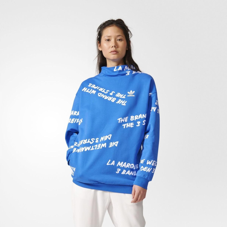 b162ab7c95d2 Adidas Originals Oversized AOP Sweatshirt für Damen in blau BK5998  BLUE WHITE