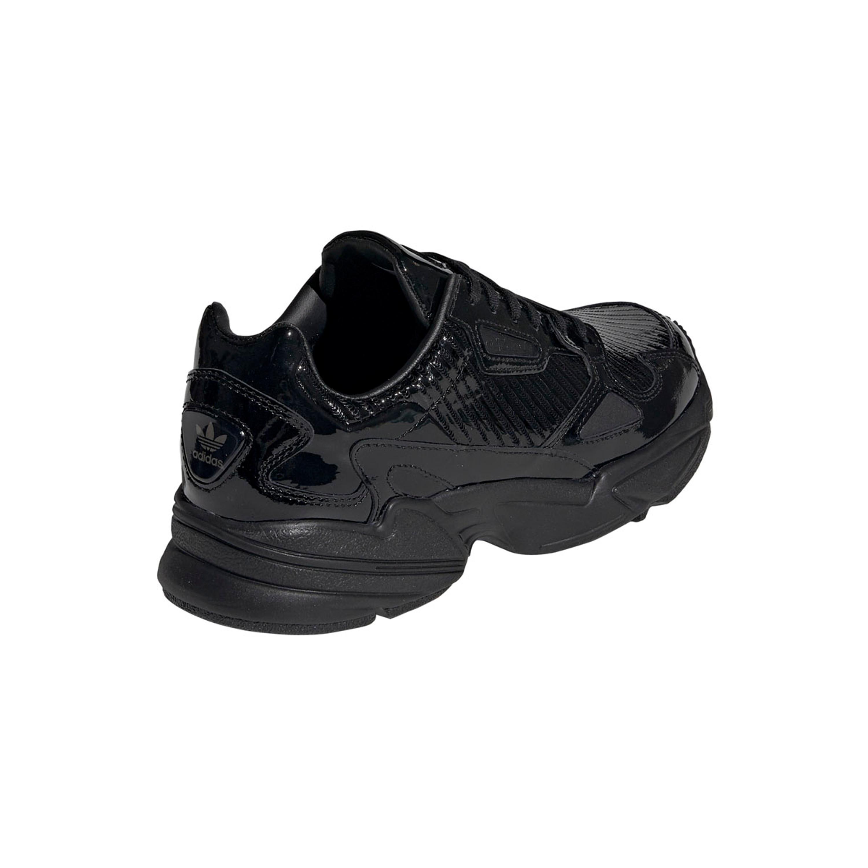 Adidas Falcon Retro & Vintage Sneakers für Damen in schwarzem Lackleder
