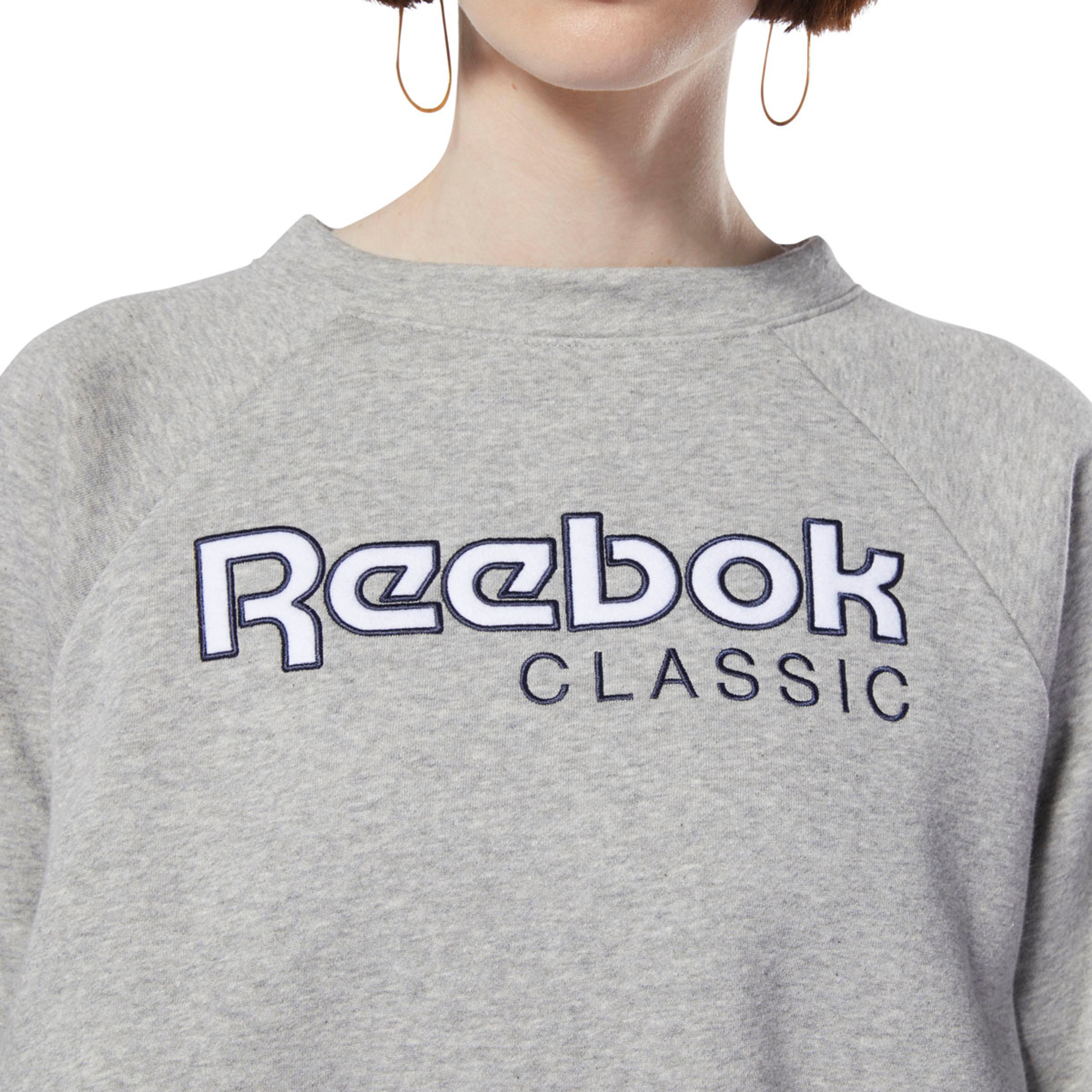 Reebok Classics Big Logo Fleece Crew Sweatshirt für Damen in grau